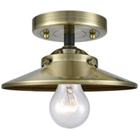 Innovations Lighting 284-1C-BAB-M4-AB-LED Railroad LED 8 inch Black Antique Brass Semi-Flush Mount Ceiling Light, Nouveau