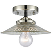 Innovations Lighting 284-1C-BPN-G2 Halophane 1 Light 9 inch Black Polished Nickel Semi-Flush Mount Ceiling Light Nouveau