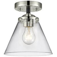 Innovations Lighting 284-1C-BPN-G42-LED Large Cone LED 8 inch Black Polished Nickel Semi-Flush Mount Ceiling Light, Nouveau