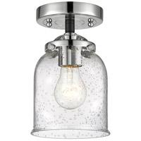 Innovations Lighting 284-1C-BPN-G54-LED Small Bell LED 5 inch Black Polished Nickel Semi-Flush Mount Ceiling Light Nouveau