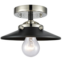 Innovations Lighting 284-1C-BPN-M6-BK Railroad 1 Light 8 inch Black Polished Nickel Semi-Flush Mount Ceiling Light Nouveau