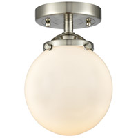 Innovations Lighting 284-1C-SN-G201-6 Beacon 1 Light 6 inch Brushed Satin Nickel Semi-Flush Mount Ceiling Light Nouveau