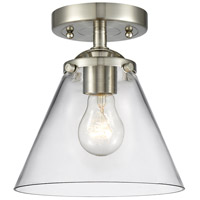 Innovations Lighting 284-1C-SN-G42-LED Large Cone LED 8 inch Satin Nickel Semi-Flush Mount Ceiling Light Nouveau