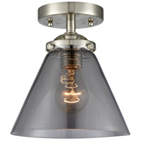 Innovations Lighting 284-1C-SN-G43-LED Large Cone LED 8 inch Satin Nickel Semi-Flush Mount Ceiling Light Nouveau