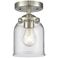 Innovations Lighting 284-1C-SN-G52-LED Small Bell LED 5 inch Satin Nickel Semi-Flush Mount Ceiling Light Nouveau