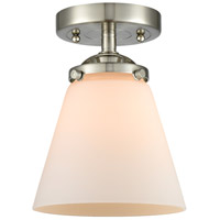 Innovations Lighting 284-1C-SN-G61-LED Small Cone LED 6 inch Satin Nickel Semi-Flush Mount Ceiling Light Nouveau