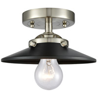 Innovations Lighting 284-1C-SN-M6-BK Railroad 1 Light 8 inch Brushed Satin Nickel Semi-Flush Mount Ceiling Light Nouveau