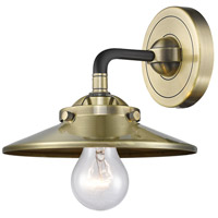 Innovations Lighting 284-1W-BAB-M4-AB Railroad 1 Light 16 inch Black Antique Brass Sconce Wall Light Nouveau