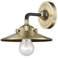 Innovations Lighting 284-1W-BAB-M4-AB Railroad 1 Light 16 inch Black Antique Brass Sconce Wall Light Nouveau
