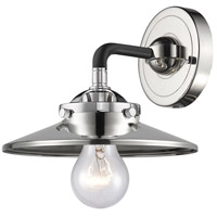 Innovations Lighting 284-1W-BPN-M1-PN Railroad 1 Light 16 inch Black Polished Nickel Sconce Wall Light Nouveau