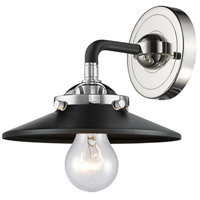Innovations Lighting 284-1W-BPN-M6-BK Railroad 1 Light 16 inch Black Polished Nickel Sconce Wall Light Nouveau