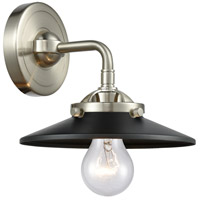 Innovations Lighting 284-1W-SN-M6-BK Railroad 1 Light 16 inch Brushed Satin Nickel Sconce Wall Light Nouveau