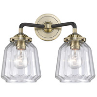 Innovations Lighting 284-2W-BAB-G142 Chatham 2 Light 14 inch Black Antique Brass Bath Vanity Light Wall Light Nouveau