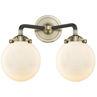 Innovations Lighting 284-2W-BAB-G2 Halophane 2 Light 17 inch Black Antique Brass Bath Vanity Light Wall Light Nouveau