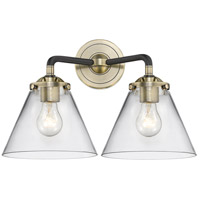 Innovations Lighting 284-2W-BAB-G42-LED Large Cone LED 16 inch Black Antique Brass Bath Vanity Light Wall Light Nouveau