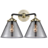 Innovations Lighting 284-2W-BAB-G43 Large Cone 2 Light 16 inch Black Antique Brass Bath Vanity Light Wall Light Nouveau