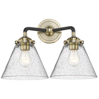 Innovations Lighting 284-2W-BAB-G44-LED Large Cone LED 16 inch Black Antique Brass Bath Vanity Light Wall Light Nouveau