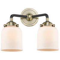 Innovations Lighting 284-2W-BAB-G51-LED Small Bell LED 13 inch Black Antique Brass Bath Vanity Light Wall Light Nouveau