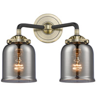 Innovations Lighting 284-2W-BAB-G53-LED Small Bell LED 13 inch Black Antique Brass Bath Vanity Light Wall Light Nouveau