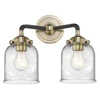 Innovations Lighting 284-2W-BAB-G54 Small Bell 2 Light 13 inch Black Antique Brass Bath Vanity Light Wall Light Nouveau