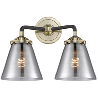 Innovations Lighting 284-2W-BAB-G63-LED Small Cone LED 14 inch Black Antique Brass Bath Vanity Light Wall Light Nouveau
