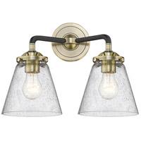 Innovations Lighting 284-2W-BAB-G64 Small Cone 2 Light 14 inch Black Antique Brass Bath Vanity Light Wall Light Nouveau