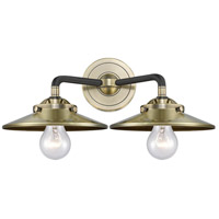 Innovations Lighting 284-2W-BAB-M4-AB-LED Railroad LED 16 inch Black Antique Brass Bath Vanity Light Wall Light Nouveau