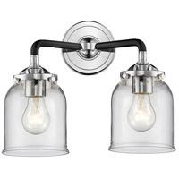 Innovations Lighting 284-2W-BPN-G52-LED Small Bell LED 13 inch Black Polished Nickel Bath Vanity Light Wall Light Nouveau