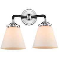 Innovations Lighting 284-2W-BPN-G61-LED Small Cone LED 14 inch Black Polished Nickel Bath Vanity Light Wall Light Nouveau
