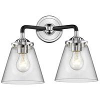 Innovations Lighting 284-2W-BPN-G62-LED Small Cone LED 14 inch Black Polished Nickel Bath Vanity Light Wall Light Nouveau