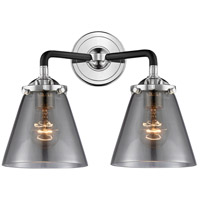 Innovations Lighting 284-2W-BPN-G63-LED Small Cone LED 14 inch Black Polished Nickel Bath Vanity Light Wall Light Nouveau