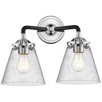 Innovations Lighting 284-2W-BPN-G64-LED Small Cone LED 14 inch Black Polished Nickel Bath Vanity Light Wall Light Nouveau
