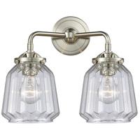 Innovations Lighting 284-2W-SN-G142 Chatham 2 Light 14 inch Satin Nickel Bath Vanity Light Wall Light Nouveau