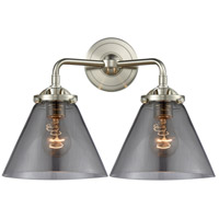 Innovations Lighting 284-2W-SN-G43 Large Cone 2 Light 16 inch Satin Nickel Bath Vanity Light Wall Light Nouveau