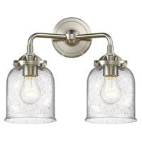 Innovations Lighting 284-2W-SN-G54-LED Small Bell LED 13 inch Brushed Satin Nickel Bath Vanity Light Wall Light Nouveau
