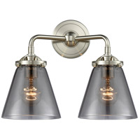 Innovations Lighting 284-2W-SN-G63-LED Small Cone LED 14 inch Satin Nickel Bath Vanity Light Wall Light, Nouveau