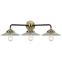 Innovations Lighting 284-3W-BAB-G2-LED Halophane LED 27 inch Black Antique Brass Bath Vanity Light Wall Light Nouveau