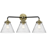 Innovations Lighting 284-3W-BAB-G44 Large Cone 3 Light 26 inch Black Antique Brass Bath Vanity Light Wall Light Nouveau
