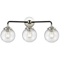 Innovations Lighting 284-3W-BPN-G202-6-LED Beacon LED 24 inch Black Polished Nickel Bath Vanity Light Wall Light Nouveau