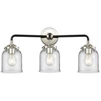 Innovations Lighting 284-3W-BPN-G52 Small Bell 3 Light 23 inch Black Polished Nickel Bath Vanity Light Wall Light Nouveau
