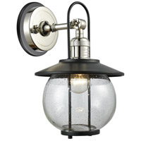 Innovations Lighting 303BP-1W-PN-BK Allium 1 Light 13 inch Polished Nickel Outdoor Wall Sconce