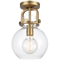 Innovations Lighting 410-1F-BB-8CL-LED Newton LED 8 inch Brushed Brass Flush Mount Ceiling Light Restoration