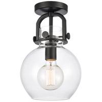 Innovations Lighting 410-1F-BK-8CL-LED Newton LED 8 inch Matte Black Flush Mount Ceiling Light Restoration