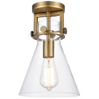 Innovations Lighting 411-1F-BB-8CL-LED Newton LED 8 inch Brushed Brass Flush Mount Ceiling Light Restoration