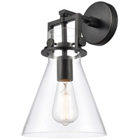 Innovations Lighting 411-1W-BK-8CL Newton 1 Light 8 inch Matte Black Sconce Wall Light Restoration