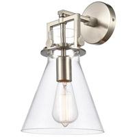 Innovations Lighting 411-1W-SN-8CL Newton 1 Light 8 inch Satin Nickel Sconce Wall Light, Restoration