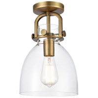 Innovations Lighting 412-1F-BB-8CL-LED Newton LED 8 inch Brushed Brass Flush Mount Ceiling Light Restoration