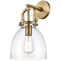 Innovations Lighting 412-1W-BB-8CL Newton 1 Light 8 inch Brushed Brass Sconce Wall Light Restoration