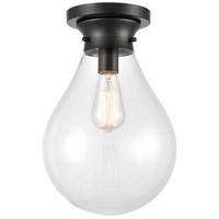 Innovations Lighting 414-1F-BK-10CL Genesis 1 Light 10 inch Matte Black Flush Mount Ceiling Light