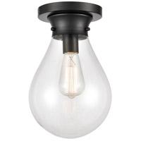 Innovations Lighting 414-1F-BK-8CL Genesis 1 Light 8 inch Matte Black Flush Mount Ceiling Light